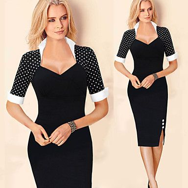Monta Women's Vintage/Sexy/Bodycon/Casual/Print/Party/Work Stand ½ Length Sleeve Dresses (Cotton Blend/Polyester) – USD $ 16.99