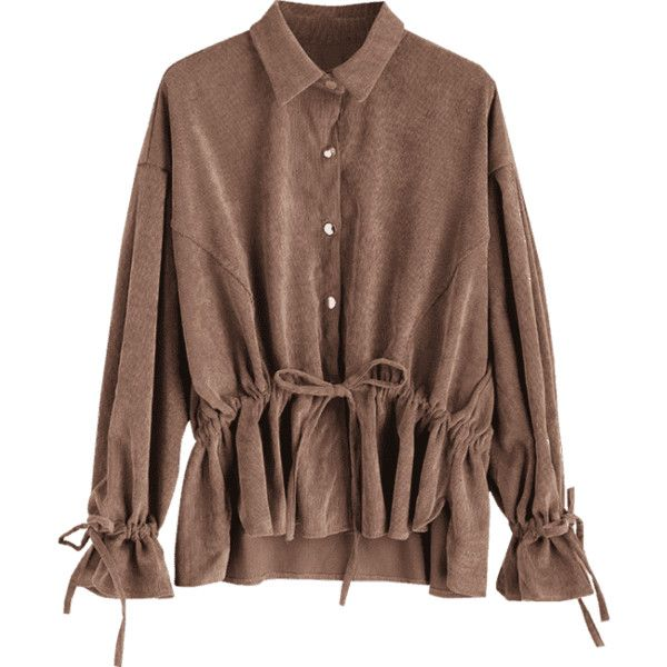 Snap-button Drawstring Corduroy Coat Deep Brown ($28) ❤ liked on Polyvore featuring outerwear, coats, drawstring coat, brown coat and corduroy coat