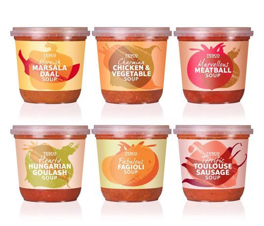 Tesco Meal Soups packaging by Buddy