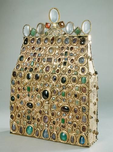 St. Stephen's Purse is a reliquary in the form of a purse (pilgrim's bag). The original wooden core contains hollow recesses in which relics were kept, 9th century.