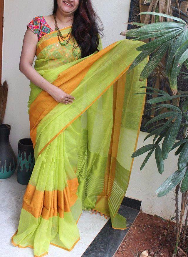 Fresh combination of green with orange silk cotton saree