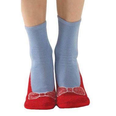 Red Slipper Non Skid Socks / Women's