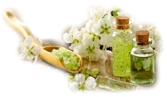 glass bottles, green and white flowers