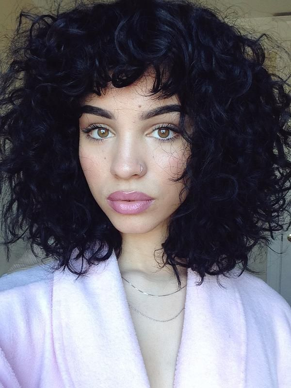 ... Bangs curly hair on Pinterest - Curly bangs, Wavy bangs and Curly