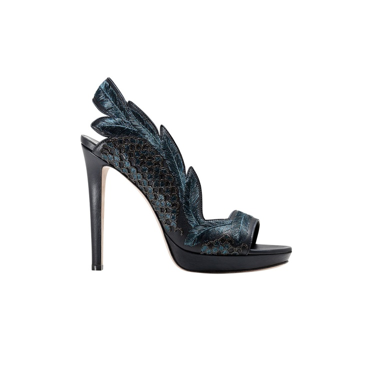 Nocturne blue and green peep-toe platforms