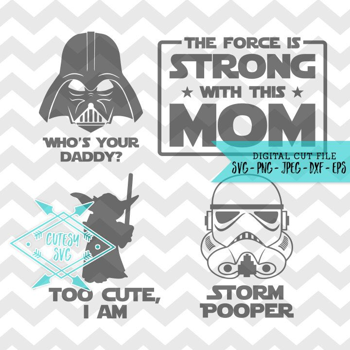 Star Wars Family SVG Disney Digital file Silhouette Studio DXF PNG Cricut Cutting Force Strong Mom Who's Your Daddy Jedi Yoda Storm Trooper by CutesySVGs on Etsy https://www.etsy.com/listing/494455431/star-wars-family-svg-disney-digital-file