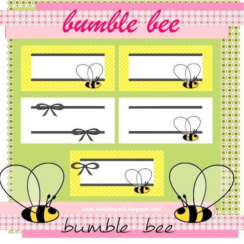 FREE Printable Bumble Bee And Bow Tags
