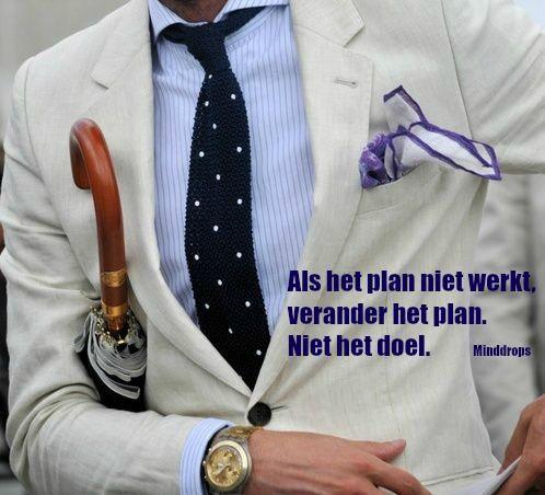 Als het plan niet werkt, verander het plan. Niet het doel. www.minddrops.nl