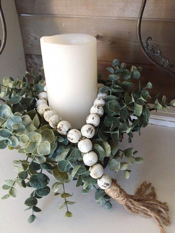 Farmhouse Beads, Wood Bead Garland, Home Decor Beads ...