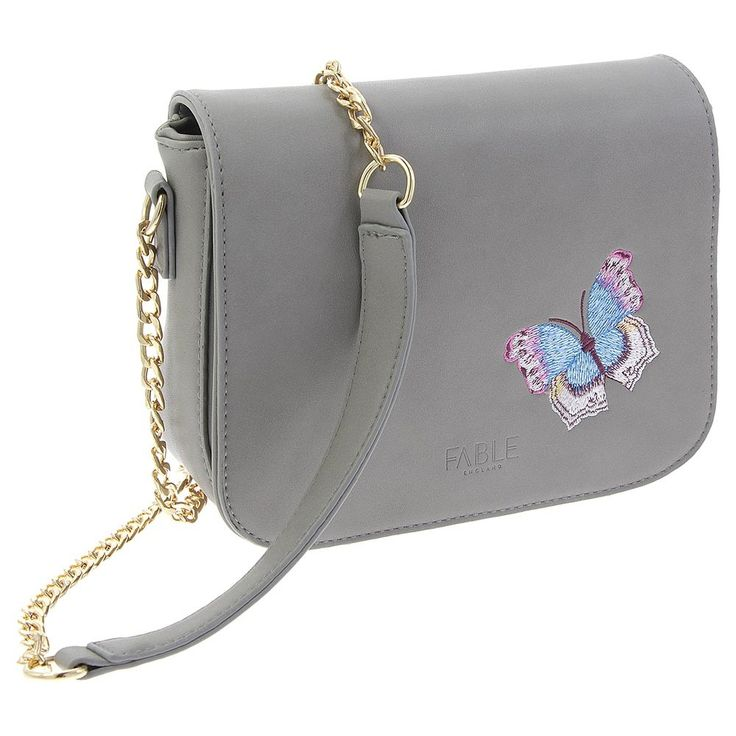 Grey embroidered butterfly handbag | Natural History Museum Online Shop