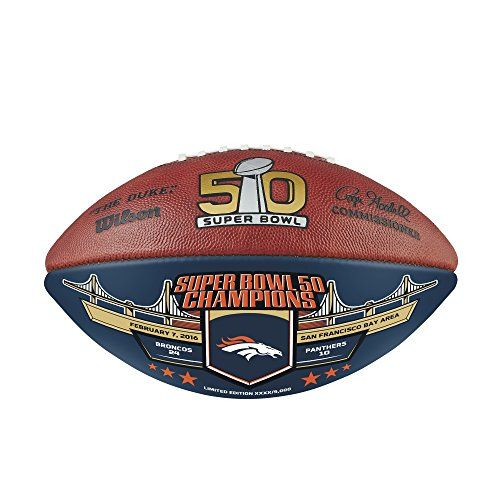 Wilson NFL Denver Broncos Super Bowl 50 Championship Football One Size Leather -- Continue to the product at the image link.