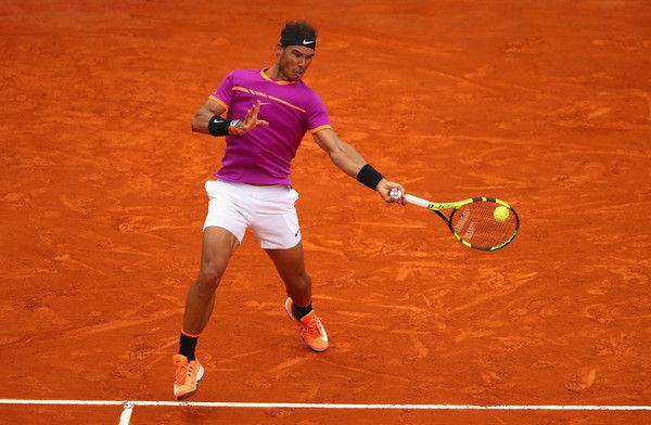 Rafael Nadal Photos Photos - Rafael Nadal of Spain plays a forehand against Albert Ramos-Vinolas of Spain in the final on day eight of the Monte Carlo Rolex Masters at Monte-Carlo Sporting Club on April 23, 2017 in Monte-Carlo, Monaco. - ATP Masters Series: Monte Carlo Rolex Masters - Day Eight