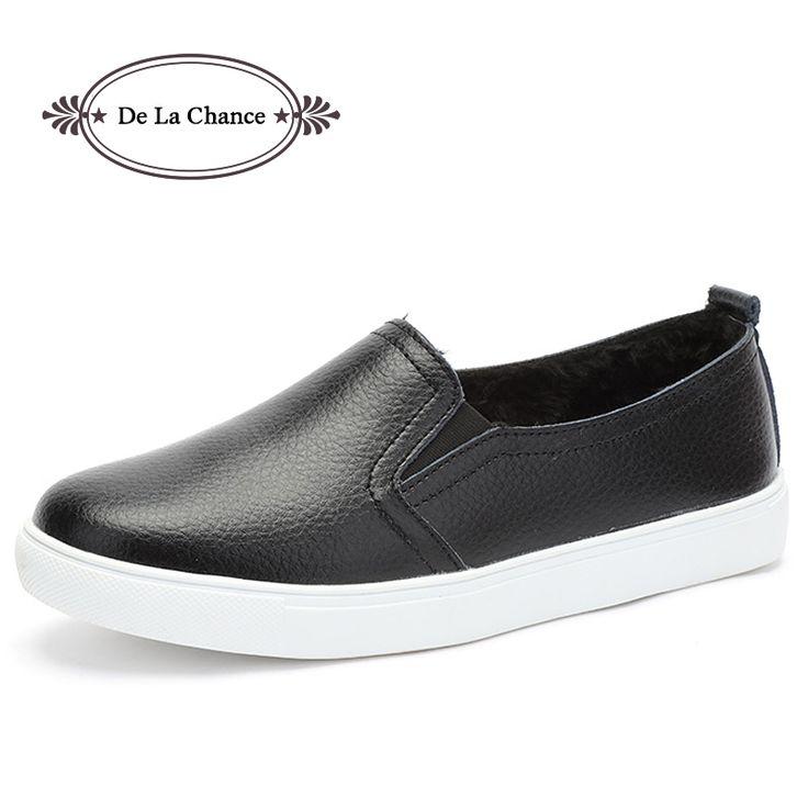 De La Chance New Fashion Women Shoes Women's Flats Leather Shoes Winter Women Loafers Shoes Black Casual Shoes Plus Size 35-40