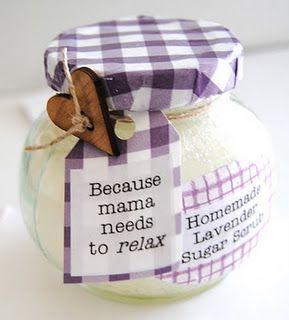 homemade sugar scrub in decorated jar tutorialBody Scrubs, Baby Shower Gift, Homemade Sugar Scrubs, Gift Ideas, Diy Gift, Decor Jars, Lavender Sugar, Christmas Gift, Crafts