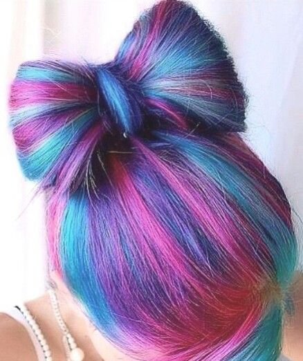 pink blue streak dyed hair color bow