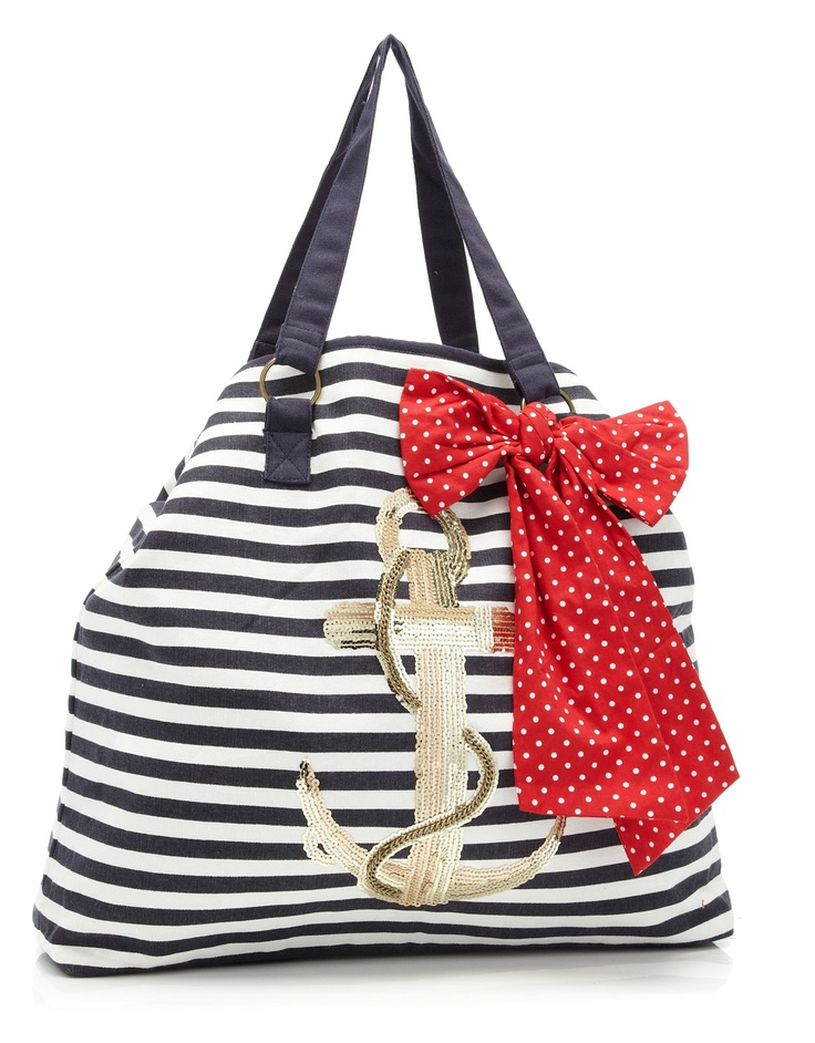 Stripe anchor embroidered tote