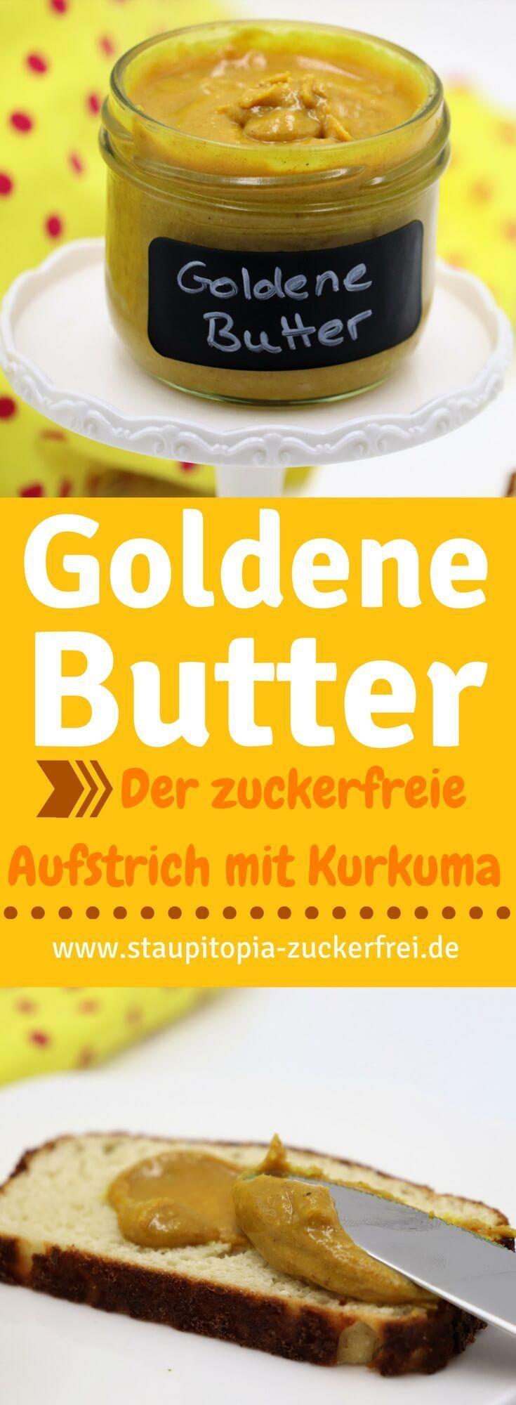 Goldene Butter - Ein gesunder Brotaufstrich als Pendant zur goldenen Milch: Die wundervollen Zutaten der goldenen Milch lassen sich wunderbar in einen köstlichen, zuckerfreien Brotaufstrich aus Mandeln und Kurkuma verwandeln. Ein Rezept für ein Frühstück ohne Zucker, dass du unbedingt ausprobieren musst! #kurkuma #aufstrich #ohnezucker #mandelcreme #staupitopia #frühstück #tumeric #brotaufstrich #lowcarb