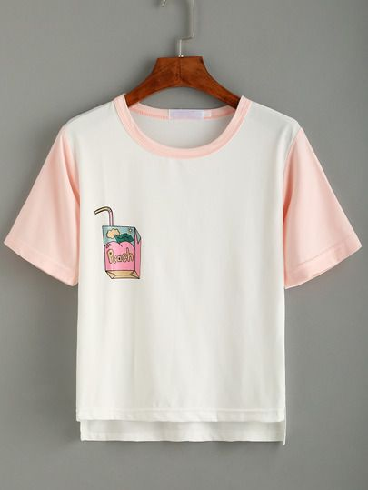 Camiseta ribete combinado estampada asimétrica - blanco