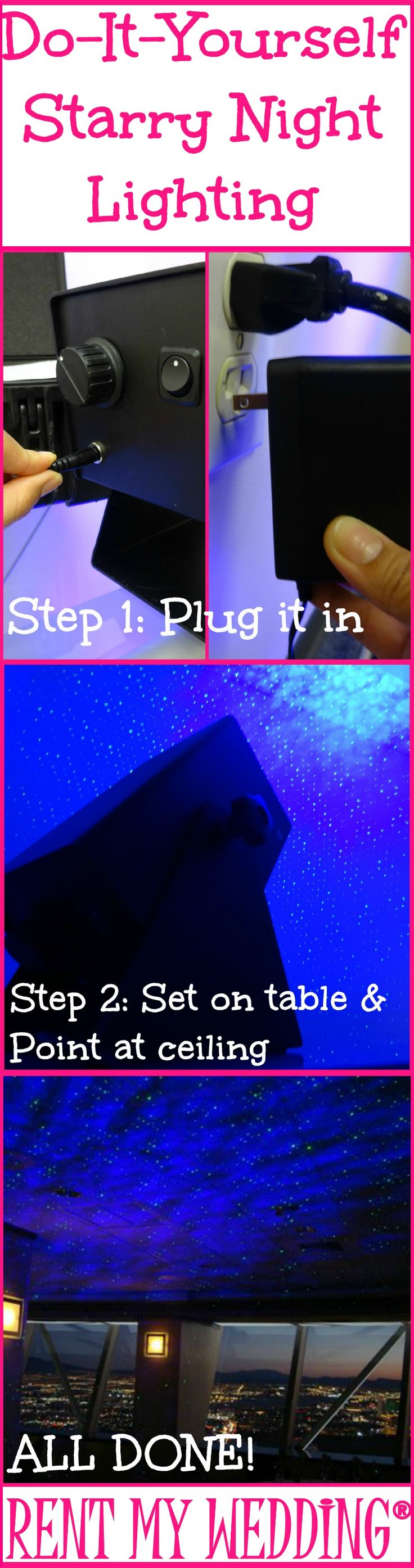 #wedding #mybigday Galaxy lighting over the dance  floor. to dance under the stars Do-It-Yourself Starry Night Lighting in 2 Easy Steps! Just plug it in & point at the ceiling. Get the look for just $149 + FREE shipping nationwide at www.RentMyWedding.com