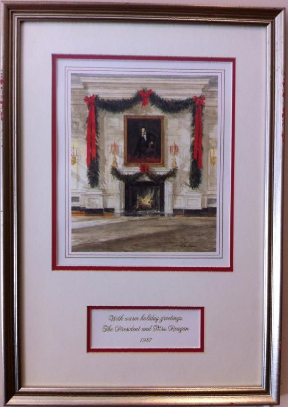 Official Gift Print Of President And Mrs Ronald Reagan Featuring The State Dining Room White House Raised Engraved Separate Card With