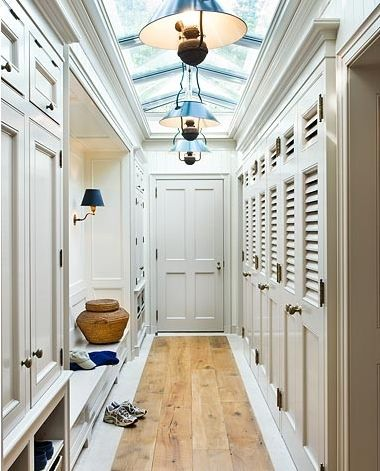 Eventually want to add a MUD ROOM connecting our garage and kitchen..love this design for its closet space, natural wood floor and skylights..