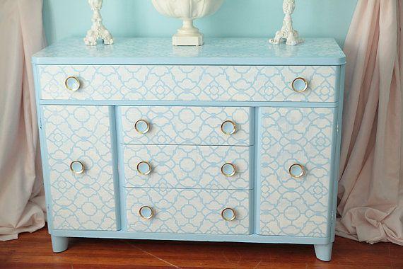 Best Buffet Vintage Mid Century Damask Blue White Heywood 640 x 480