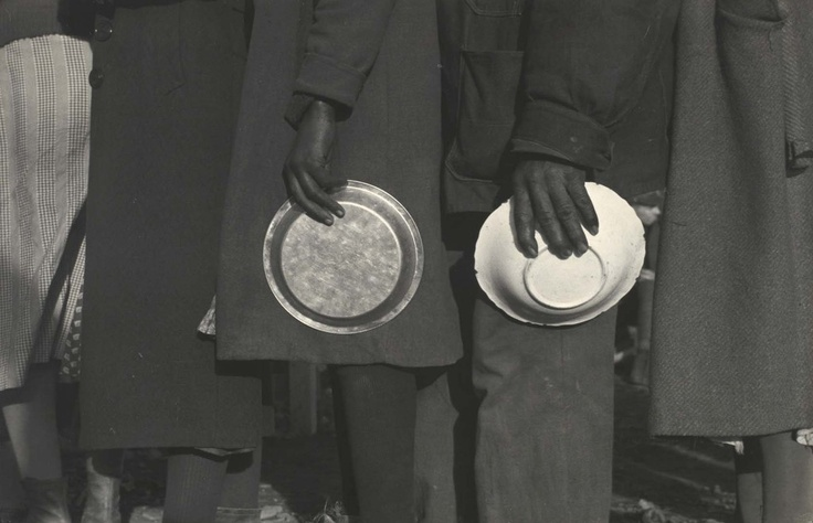 """reinopin: """"Negroes in the line-up for food at mealtime in the camp for flood refugees, Forrest City, Arkansas. February, 1937."""" © Walker Evans"""