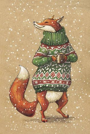 Fox in sweater with mug