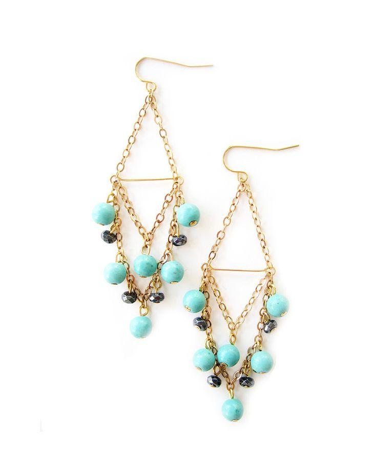 Turquoise Beaded Chandelier Earrings