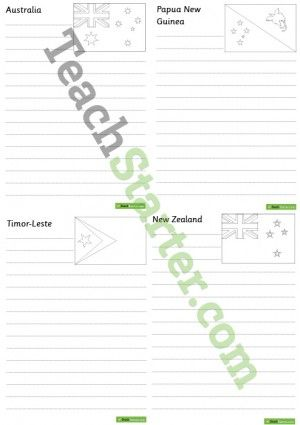 Oceania Flags Worksheets – BW