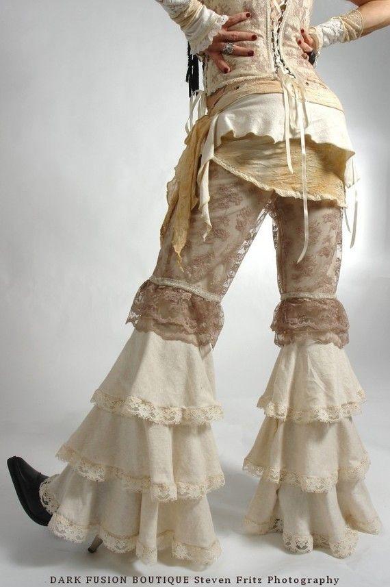 Pants, YOUR SIZE,  Dance, Ruffles, Black Rock, Steampunk,Tribal, Bellydance, Goth, Exotic, Dance