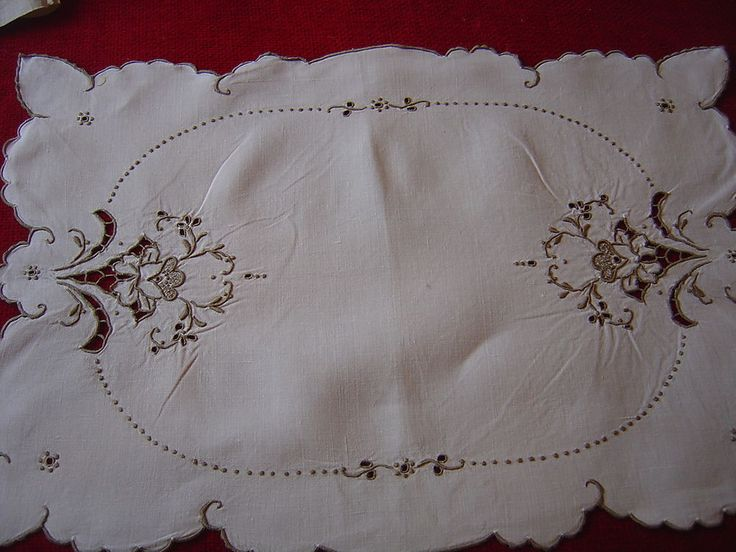 Tray Cloth Vintage Cut Work Embroidery Ecru On White