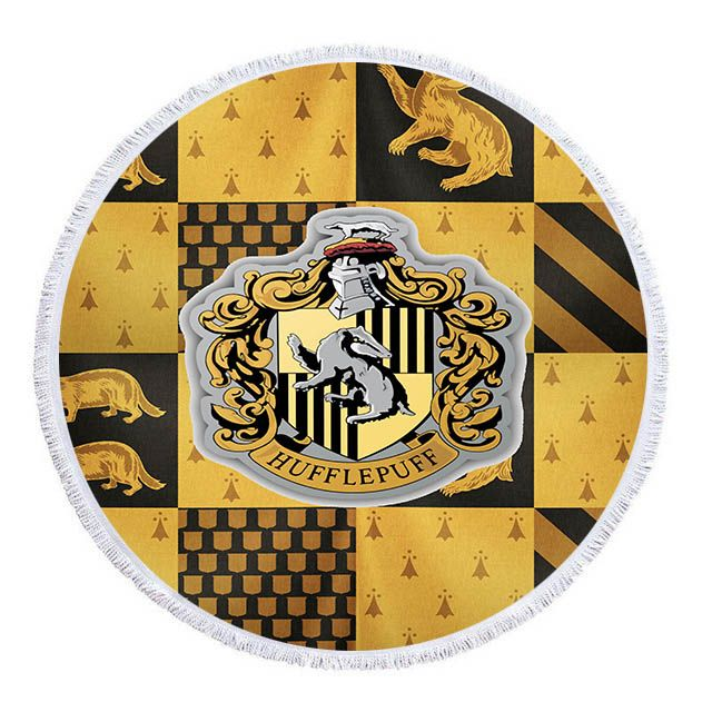 Slytherin Ravenclaw Gryffindor Hufflepuff Round Beach Towel With