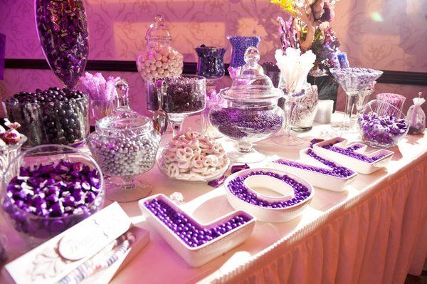 Purple Candy Buffets Are you planning a baby shower, wedding or a birthday party? Thinking about putting up a candy bar? If so, thanks for stopping! We have collected some pictures and products that we hope will help you in planning your special event! Purple Candy Buffet by foodwallpaper.info Beautiful Purple Candy Buffet by blovelyevents.com Purple and Blue Candy Buffet by www.sweetdaybuffet.com Blue and Purple Candy Bar by www.sweetdaybuffet.com Purple and Silver Candy Buffet by...