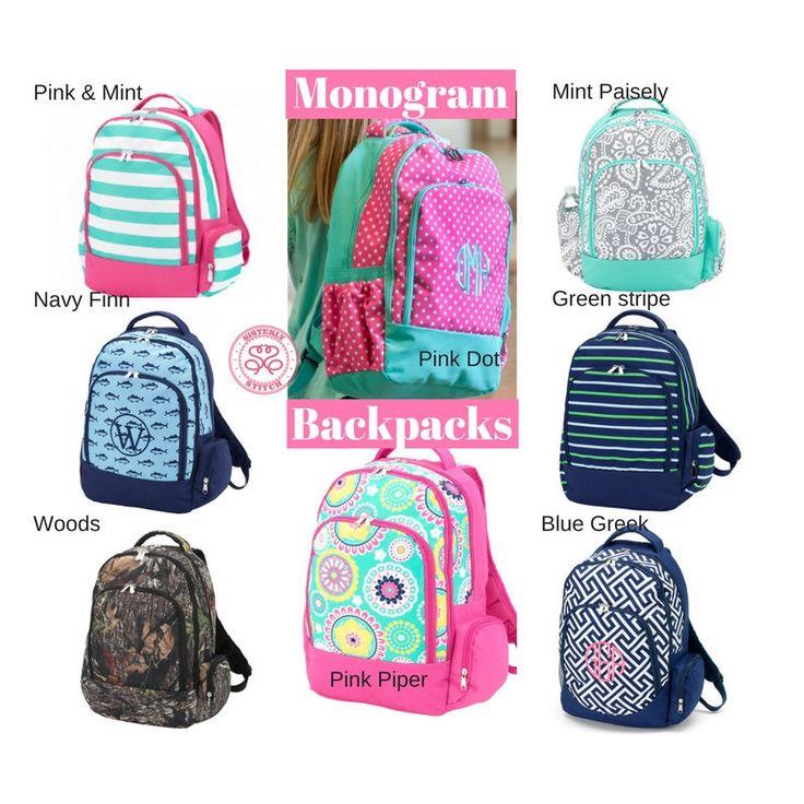 Monogram Backpacks/ Personalized Kids backpacks/ Free Personalization/Monogram girls backpack/ boys backpack/kids book bag, summer camp by SisterlyStitchShop on Etsy https://www.etsy.com/listing/267995131/monogram-backpacks-personalized-kids
