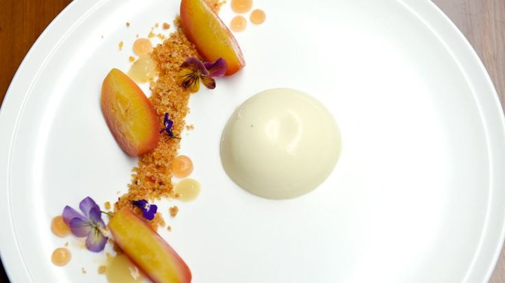 Orange and Thyme Panna Cotta, Orange Blossom Marmalade Peaches and Cardamom Praline