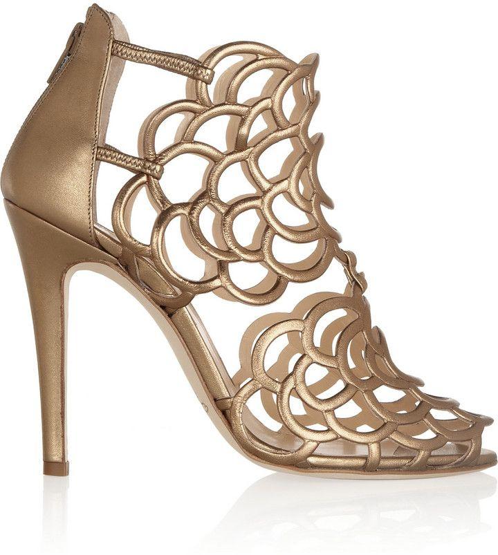 Oscar de la Renta Gladia metallic leather sandals on shopstyle.co.uk