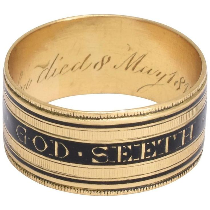 Antique Georgian Thou God Seeth Me Mourning Band | From a unique collection of vintage band rings at https://www.1stdibs.com/jewelry/rings/band-rings/