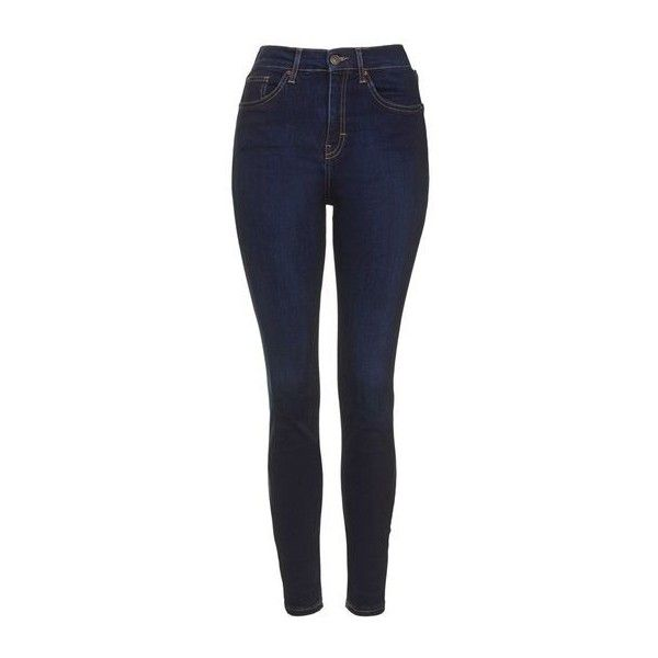 TopShop Moto Dark Ink Jamie Jeans ($59) ❤ liked on Polyvore featuring jeans, ink, dark denim skinny jeans, topshop jeans, rock n roll jeans, high waisted jeans and high-waisted jeans