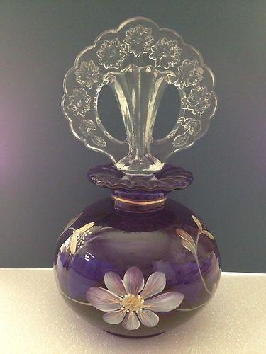 Antique Vintage Purple Fenton Perfume Scent Bottle