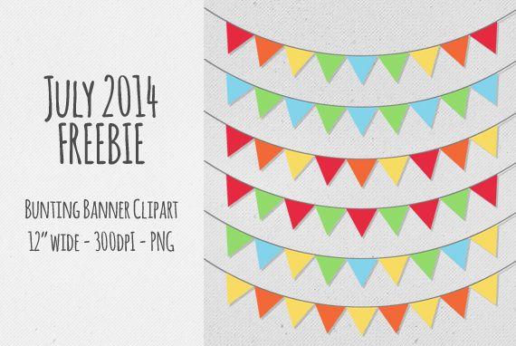 Multicolour Bunting Banner Clip Art - FREE - freebie