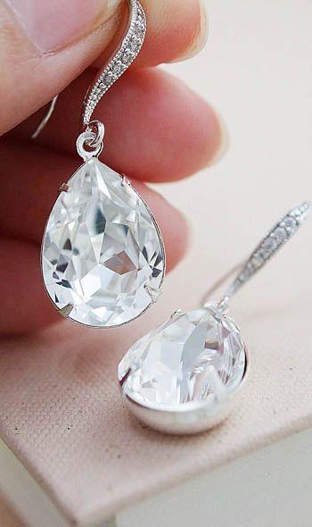 Clear White Estate Style Swarovski Crystal Bridal Earrings from EarringsNation