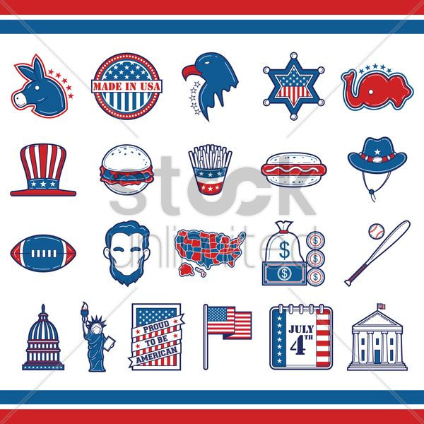 collection of usa icons vector graphic