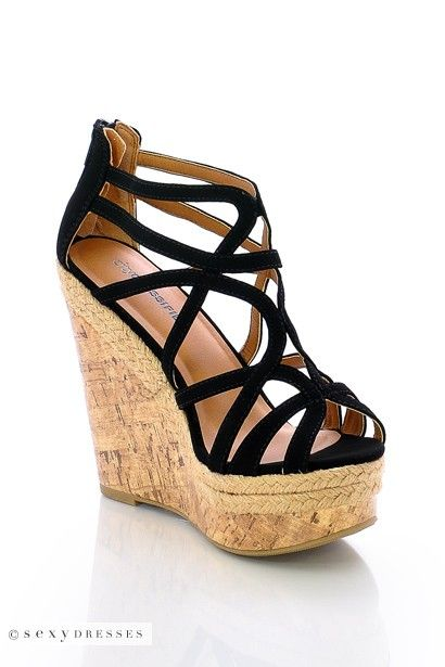 Stylish Black Strappy Open Toe Wedge Heel Sandal
