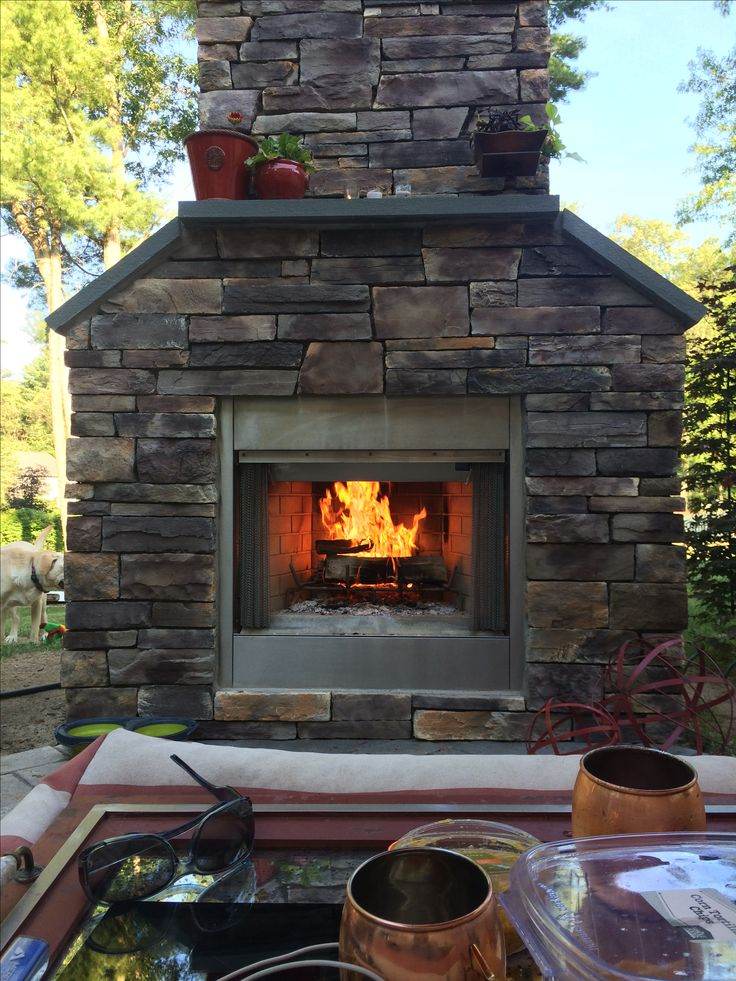 Our Finished Project: Stone Veneer Outdoor Fireplace Makes The Patio A Cozy  Outdoor Room!