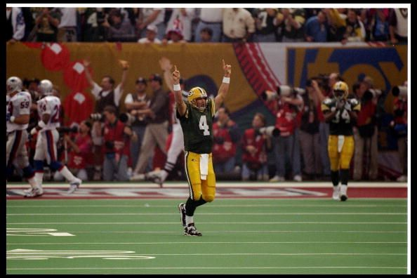 Super Bowl XXXI | January 26, 1997 – Brett Favre wins his only Super Bowl and the Green Bay Packers win their first since Super Bowl II, winning the franchises 12th NFL championship. The 35-21 win over the New England Patriots was the 13th consecutive NFC win and 15th of the last sixteen Super Bowls. Kick/Punt returner Desmond Howard won the MVP, returning for a combined 244 yards and scoring the game clinching touchdown on a 99 yard kickoff return.