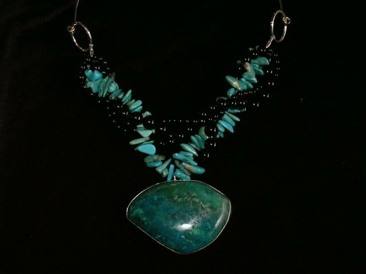 Handcrafted Chrysocolla, Turquoise and Onyx necklace by Chasing Destiny Silver