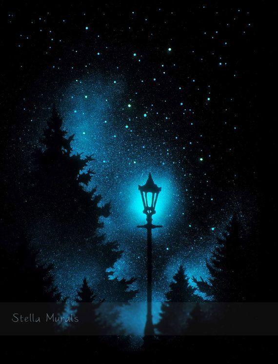 Night Light Glow in the Dark Night Light Poster by StellaMurals