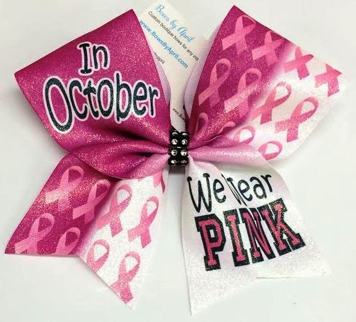 In October We Wear PINK Awareness Pink Out Cheer Bow
