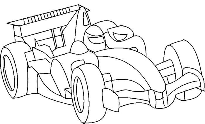 F1 Racing Car Turbo Coloring Page